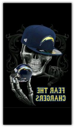 Los Angeles Chargers NFL Skull Car Bumper Sticker Decal - 3'