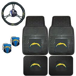 NFL Los Angeles Chargers Floor Mats Steering Wheel Cover & A